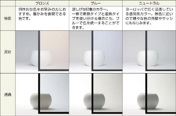 Low-E複層ガラス 断熱タイプ カラーバリエーション